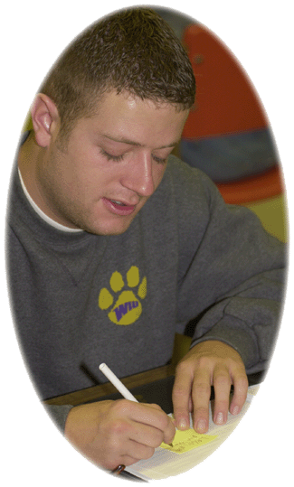 Student completing an application