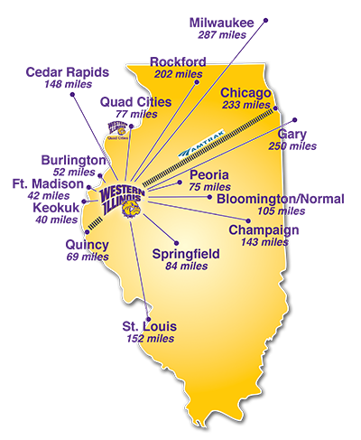 Map of WIU campuses