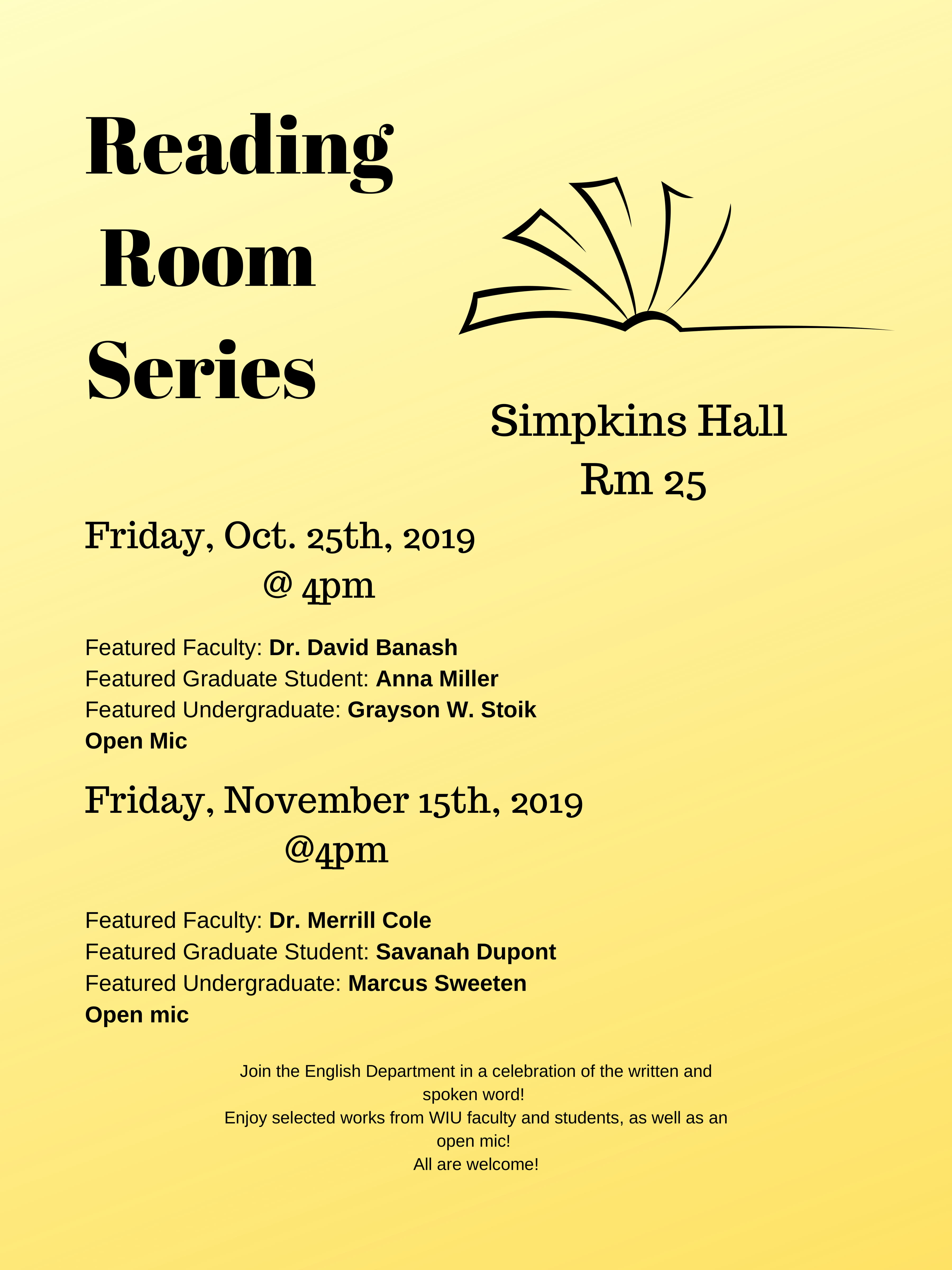 Reading Room Series Fall 2019