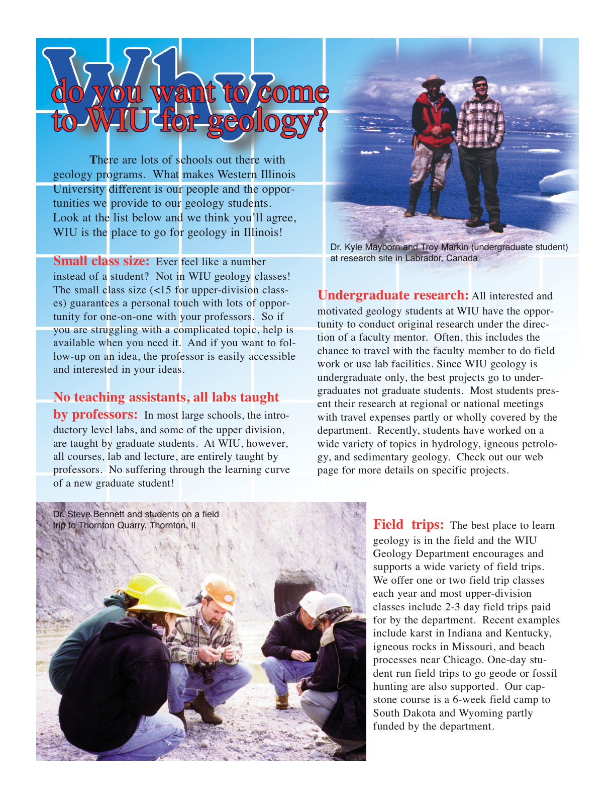 image and text about why to choose WIU for your Geology degree