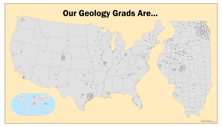 Map of Locations of WIU Geology Alumni