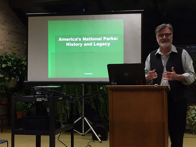Dr. Hall presenting on the National Park Service