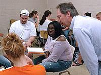 Professor discussing with a student