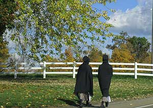 Amish Women Walking.