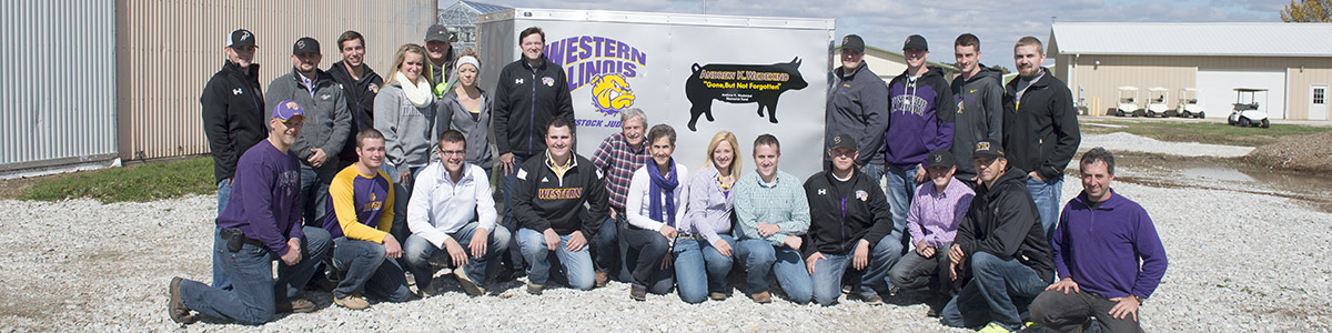 Ag students donors and faculty with donated trailer