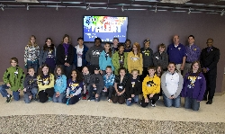 Marcy Lantz's sixth grade class from Edison School recently visited Western as part of an Adopt-A-Classroom program. With the class are John Biernbaum of University Housing and Dining, Jude Kiah of the Bookstore and Go West and President Jack Thomas.