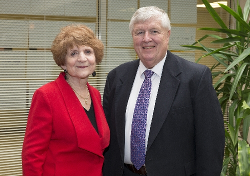 Western Illinois University Educational Studies Professor Sandra Watkins (left), who teaches educational leadership courses at WIU, now serves as president of the National Rural Education Association (NREA). She will conclude her presidency in October at the organization's annual convention in St. Louis. She is pictured here with John Hill, the executive director of the NREA, which is based at Purdue University.