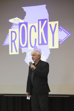 COFAC Dean Billy Clow speaks to the crowd during Tuesday night's draft day for the next edition of Rocky on Parade.