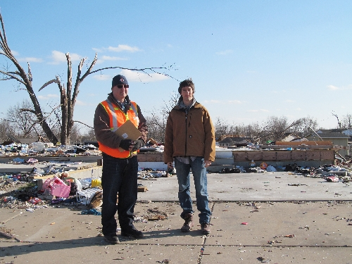 Jack Rozdilsky (left), associate professor in Western Illinois University's emergency management program, and Nick Swope, a WIU graduate student studying public health, in Washington, IL, April 1, 2014. The pair have authored the National Science Foundation and Natural Hazards Center Quick Response Program-funded study, ''High School Football as a Catalyst for Disaster Recovery: The Case of the November, 17, 2013, Washington, Illinois, Tornado.''