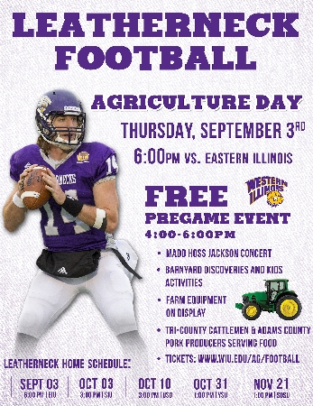Join the Western Illinois University School of Agriculture and the Fighting Leathernecks Thursday, Sept. 3 to celebrate the opening of the 2015 football season and the tradition of agriculture at WIU.
