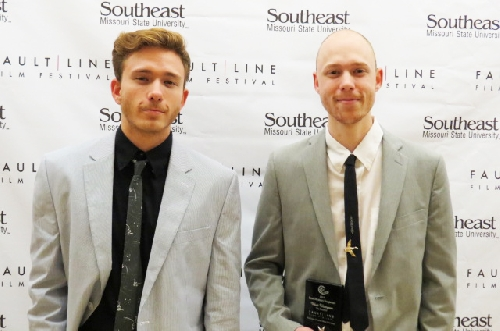 WIU Senior Austin Thompson, right, recently won a prestigious award in the Fault Line Film Festival at Southeast Missouri State University. He is pictured with his brother, Gabriel, who he said helped him through every step of the process.