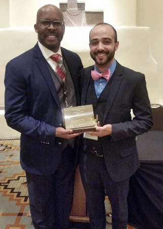 Dr. Algerian Hart (left) and Alex Deeb. Deeb, a graduate student in the WIU Department of Kinesiology's sport management program, was recently honored with the Gary Sailes Diversity Scholarship Award at the North American Society for the Sociology of Sport (NASSS) Conference.