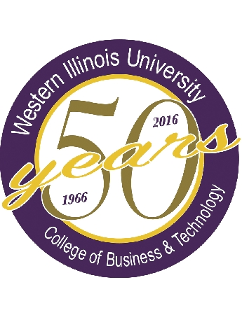 Senior graphic communication major Jeff Ashwood, of Cuba, IL, designed the anniversary logo as part of Catherine Drinka's WIU graphic communication course.