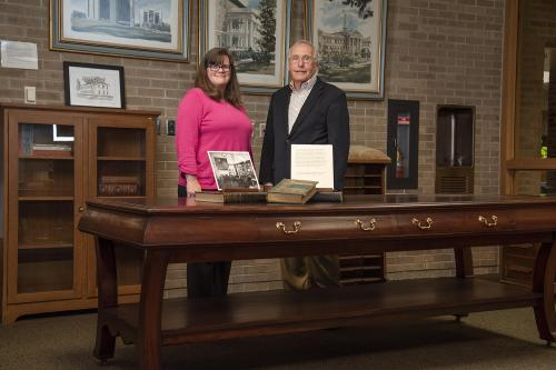 Macomb attorney Alison Vawter and Judge Kent Slater recently donated a mahogany table to WIU, which was believed to have been in the offices of the University's earliest presidents.