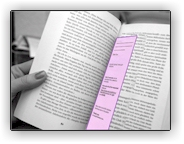 Photo of a book with a purple bookmark