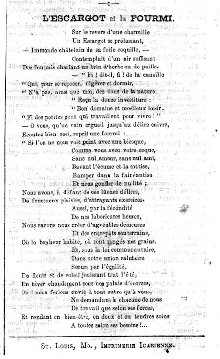 Image of a poem in Revue Icarienne newspaper