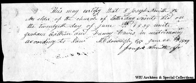 Scan of Nauvoo handwritten document.