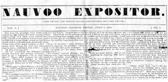 Scan of Nauvoo Expositor newspaper.