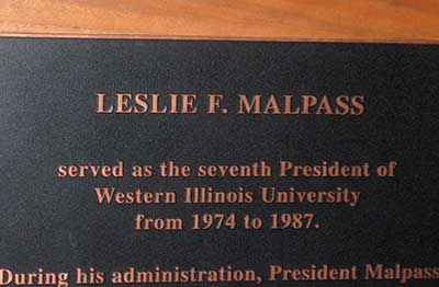 Image of the plaque in the Malpass Library.