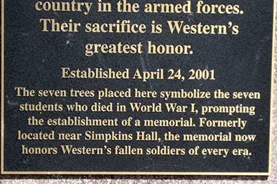 Image of plaque in the Soldiers' Memorial.
