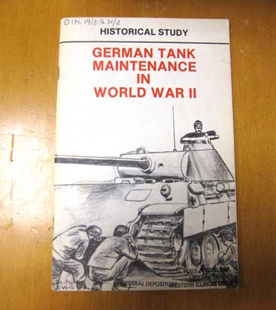 Photo of German tank maintenance in WW II book.