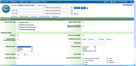 Screenshot of Academic Search Premier
