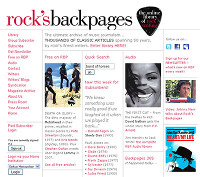 rock'sbackpages - the online library of rock writing