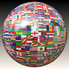 Image of sphere covered with flags of countries
