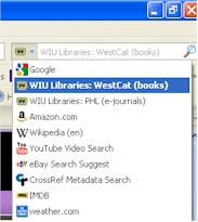 screen shot of WestCat Catalog search option highlighted in a browser search box