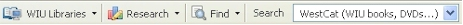 screen shot of Firefox toolbar, WIU Libraries tab, Research tab, Find tab, and Search dropdown