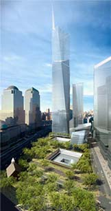Rendering of what the World Trade Site Memorial might look like when completed