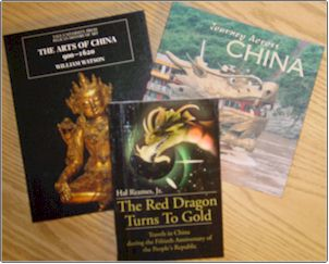 Photo of three books about China that were donated to the WIU Libraries