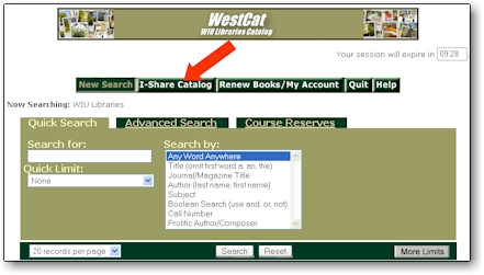 Display of the I-Share Button within WestCat