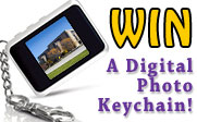win one of four Coby digital photo keychains.