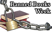 Image of a stack of books behind a lock and chains with the text banned books week.