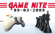 Image of a video game controller facing one side of a chess board with the text Game Nite 09-03-2009.