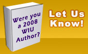 Graphic of a book with the text were you a 2008 WIU author?  Let us know!