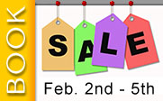 Price tags with the text book sale Feb. 2nd - 5th.