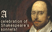Painting of William Shakespeare with the text A celebration of Shakespeare's sonnets!