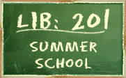 Image of a chalkboard with the text LIB: 201 Summer School