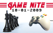 Image of a video game controller facing one side of a chess board with the text Game Nite 10-01-2009.