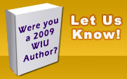 A book with the text Were you a 2009 WIU Author? Let Us Know!