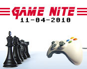 Photo of a video game controller facing chess pieces with Game Nite 11-04-2010 above them.