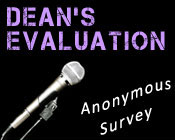 Photo of a microphone with the text Dean's evaluation anonymous survey