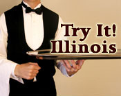 Waiter holding a silver platter with the text Try It! Illinois.