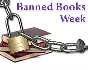 A picture of a stack of books with a chain and lock in front of them and the text banned books week.