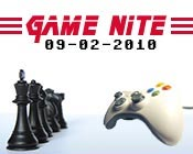 Photo of a video game controller facing chess pieces with Game Nite 09-02-2010 above them.