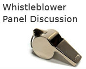 Photo of a whistle with the text whistleblower panel discussion