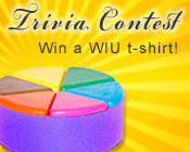 Photo of a Trivial Pursuit game piece with the text Trivia Contest, win a bookstore gift card!