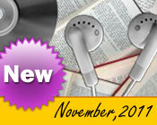 Photo collage of books, CDs, and earphones with the text New November, 2011.